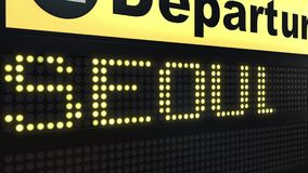 Flug nach Seoul auf Abfahrtstafel des internationalen Flughafens Reisen Südkorea-zur Begriffsintroanimation lizenzfreie abbildung