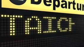 Flug nach Taichung auf Abfahrtstafel des internationalen Flughafens Reisen Taiwan-zur Begriffsintroanimation stock abbildung