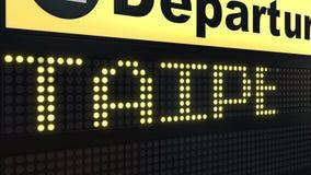 Flug nach Taipeh auf Abfahrtstafel des internationalen Flughafens Reisen Taiwan-zur Begriffsintroanimation vektor abbildung