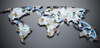 Flug oder Internet auf Weltkarte 3D Abbildung 3D Lizenzfreies Stockbild