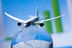 Flug um die Welt Stockbild