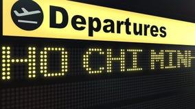 Flug zu Ho Chi Minh City auf Abfahrtstafel des internationalen Flughafens Reisen zu Vietnam-Begriffs-Wiedergabe 3D Lizenzfreie Stockbilder