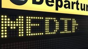 Flug zu Medina auf der Abfahrtstafel des internationalen Flughafens, die nach Saudi-Arabien reist lizenzfreie abbildung