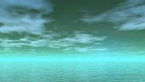 Fluga över havet - 3D framför vektor illustrationer