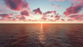 Fluga över havet i solnedgången stock illustrationer
