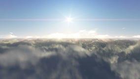 Fluga över moln och solnedgång
