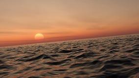 Fluga över och lyfta av över havet på solnedgången stock video