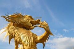 Fluga för himmel för bakgrund för guld- drakestaty härlig tvungen härlig arkivbild