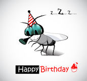 Fluga för lycklig födelsedag royaltyfri illustrationer