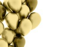 Fluga för många guld- ballonger på vit vektor illustrationer