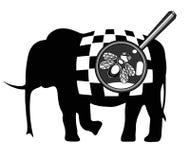 Fluga och elefant Illustration för t-skjorta design, hälsningkort, inbjudan royaltyfri foto