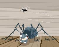 Fluga och en spindel royaltyfri illustrationer