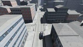 Fluga ovanför bilar för skyskrapastadstrafik lager videofilmer