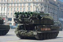 Flugabwehrrakete komplexes BUK-M2 während der Militärparade I Lizenzfreie Stockbilder