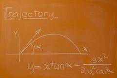Flugbahn der mathematischen Formel Lizenzfreies Stockfoto