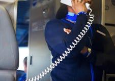 Flugbegleiter-Ansage Lizenzfreie Stockfotografie