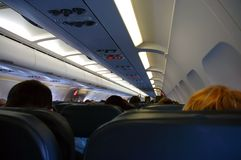 Fluggäste an Bord Stockfoto