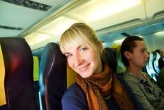 Fluggast in den Flugzeugen Stockfotografie