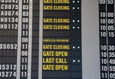 Flughafen-Abflug-Vorstand Stockbild