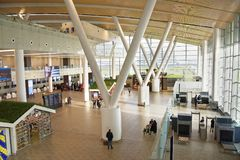 Flughafen, errichtet für die Fußball-Weltmeisterschaft im Jahre 2018 Die Passagiere a Stockbild