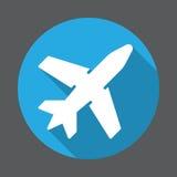 Flughafen, flache Ikone des Flugzeugs Runder bunter Knopf, Kreisvektorzeichen mit langem Schatteneffekt Flaches Artdesign Stockfotos