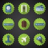 Flughafen-Flug-reisender flacher Vektor-Ikonen-Satz Schließen Sie Pass mit ein, Lizenzfreie Stockbilder