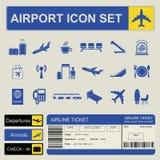 Flughafen, Flugzeugverkehr-Ikonensatz Stockfotos
