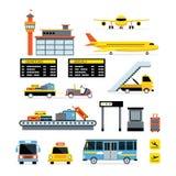 Flughafen-Gegenstand-flacher Design-Satz Lizenzfreies Stockfoto