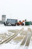 Flughafen Lugano Agno unter dem Schnee Lizenzfreies Stockbild