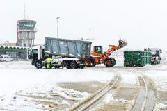 Flughafen Lugano Agno unter dem Schnee Lizenzfreies Stockfoto