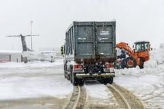 Flughafen Lugano Agno unter dem Schnee Stockbild