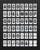 Flughafen mechanischer Flip Board Panel Font stock abbildung