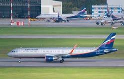 Flughafen Moskaus, Sheremetyevo, Russland - 24. September 2016: Aeroflot - russische Fluglinien-Airbus A321-211 Horizontalebene Stockbild
