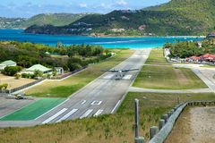 Flughafen nahe bei Strand St. Jean, St. Barths, karibisch Stockbild