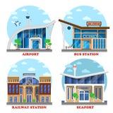 Flughafen und Bahnstation, Seehafen, Bus Stockfotografie