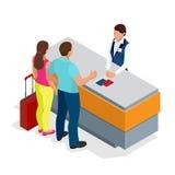 Flughafenabfertigungsgebäudekonzept mit Passagiertransport Passkontrolle Flache isometrische lokalisierte Illustration des Vektor Stockfotografie