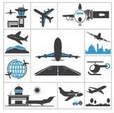 Flughafenikone Stockfoto