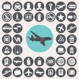 Flughafenikonen eingestellt Lizenzfreies Stockfoto