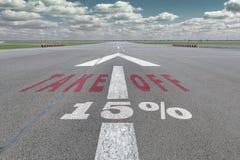 Flughafenrollbahnpfeil 15 Prozent Stockfoto