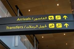 Flughafentransfer-/Ankunftszeichen Lizenzfreies Stockbild