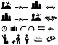Flughafentransferikonensatz Lizenzfreie Stockbilder