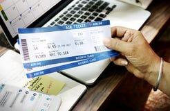 Flugkartenbestellungs-Flugticket-Konzept stockfotografie