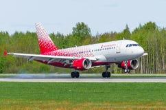Fluglinien Airbusses a319 Rossiya, Flughafen Pulkovo, Russland St Petersburg im Mai 2017 Lizenzfreie Stockfotografie