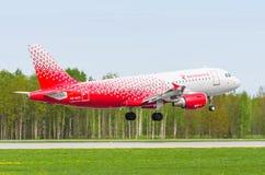 Fluglinien Airbusses a319 Rossiya, Flughafen Pulkovo, Russland St Petersburg im Mai 2017 Stockfotos
