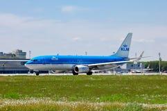 Fluglinien Boeing 737 KLMs Royal Dutch Stockfotografie