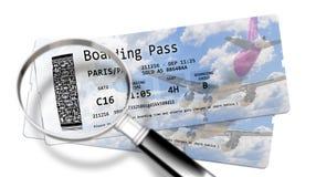 Fluglinienbordkarte etikettiert - die Gefahren des Identit?tsdiebstahles an den Flugh?fen - Konzeptbild lizenzfreie stockfotografie