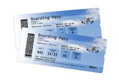 Fluglinienbordkartekarten lokalisiert auf Weiß Stockbild