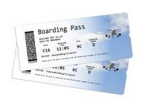 Fluglinienbordkartekarten lokalisiert auf Weiß Stockfotos