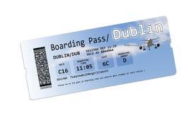 Fluglinienbordkartekarten nach Dublin lokalisierten auf Weiß Stockfoto