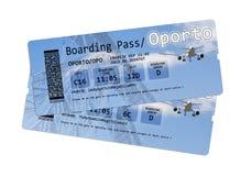 Fluglinienbordkartekarten nach Oporto (Portugal-Europa) Stockbilder